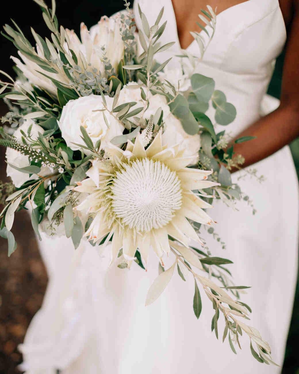 sage leaves eucalyptus white statement blooms floral bouquet