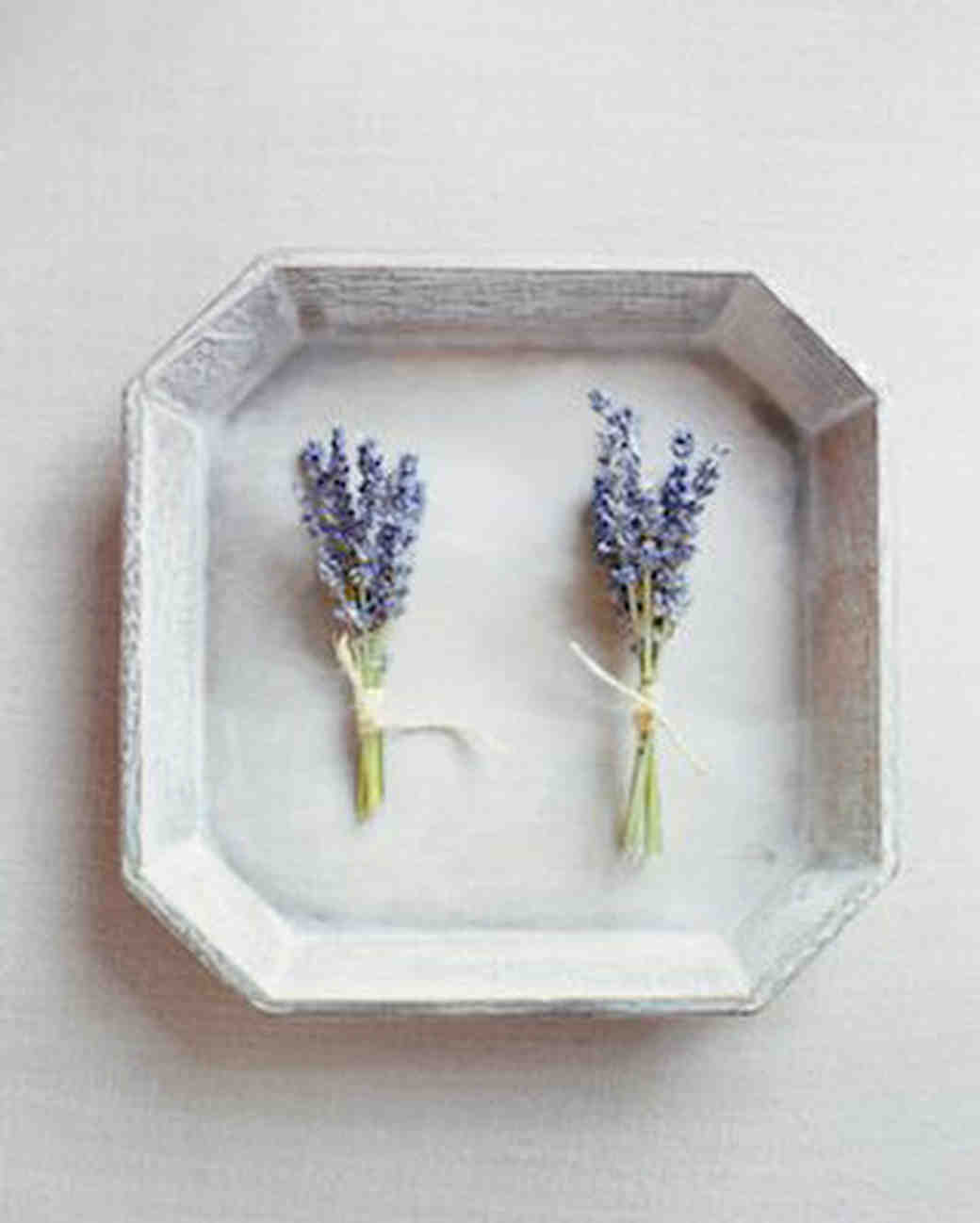 simple lavender boutonnieres wrapped with twine