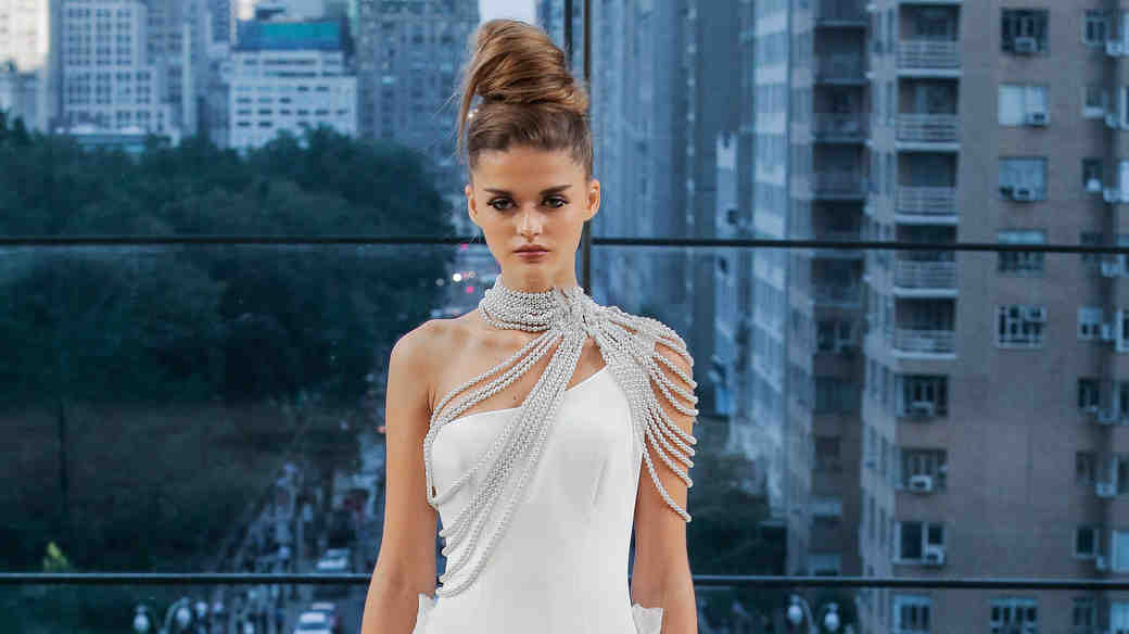 Ines Di Santo One-Shoulder Wedding Dress Fall 2018