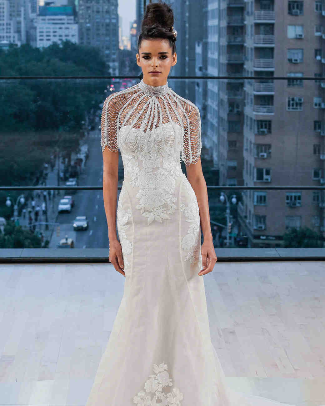 Ines Di Santo Short Sleeve Sweetheart Wedding Dress Fall 2018