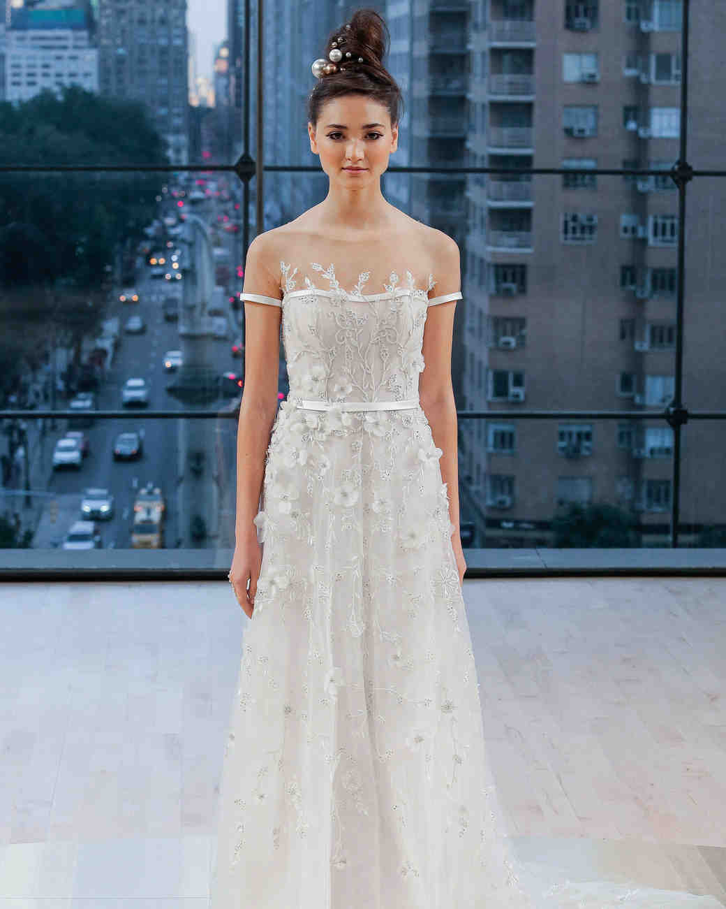 Ines Di Santo Floral Illusion Wedding Dress Fall 2018