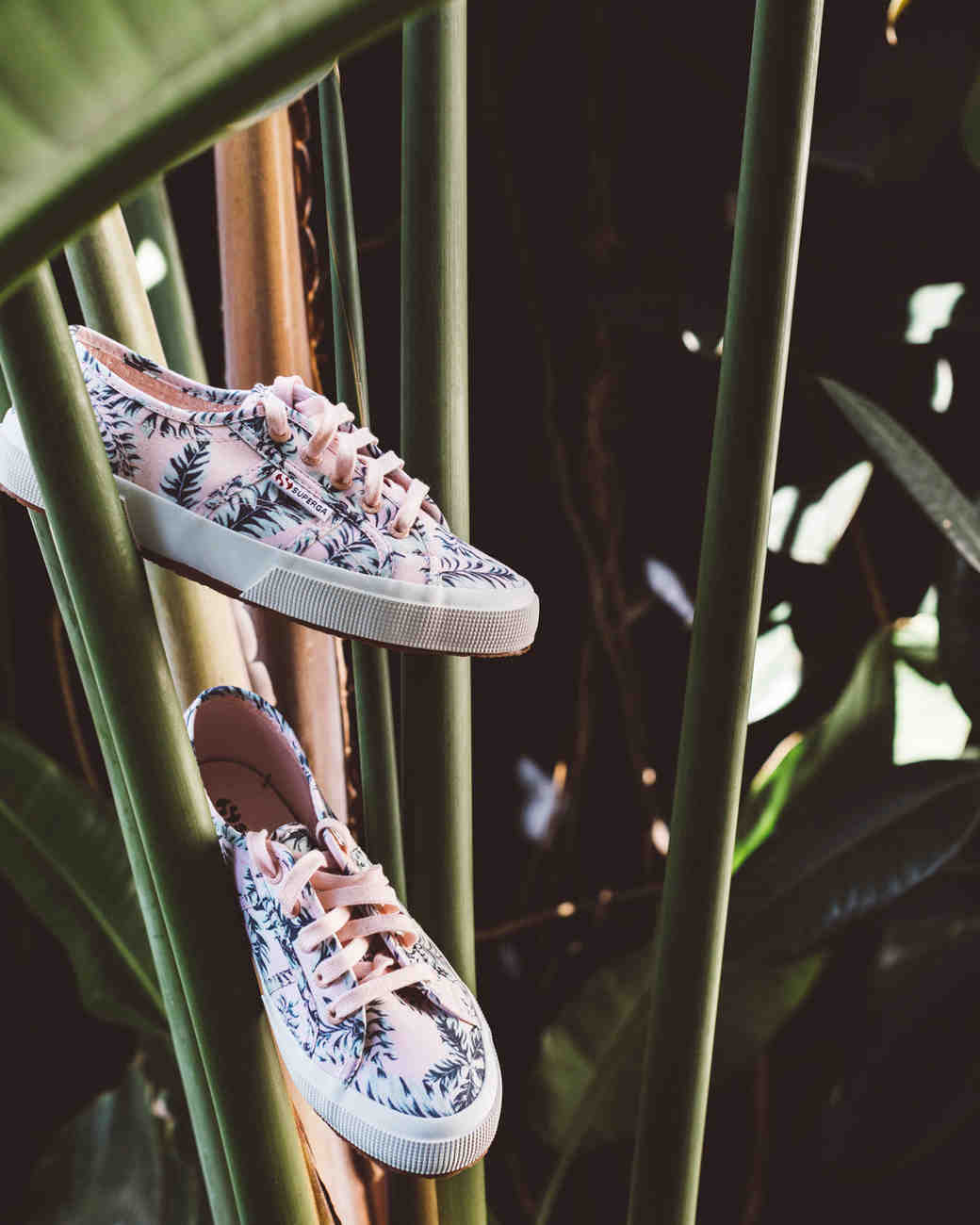 kaily matt wedding los angeles pink sneakers in palm leaves