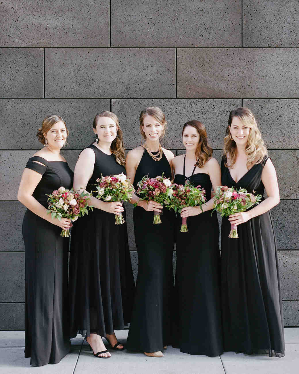 katie andre wedding bridesmaids black dresses