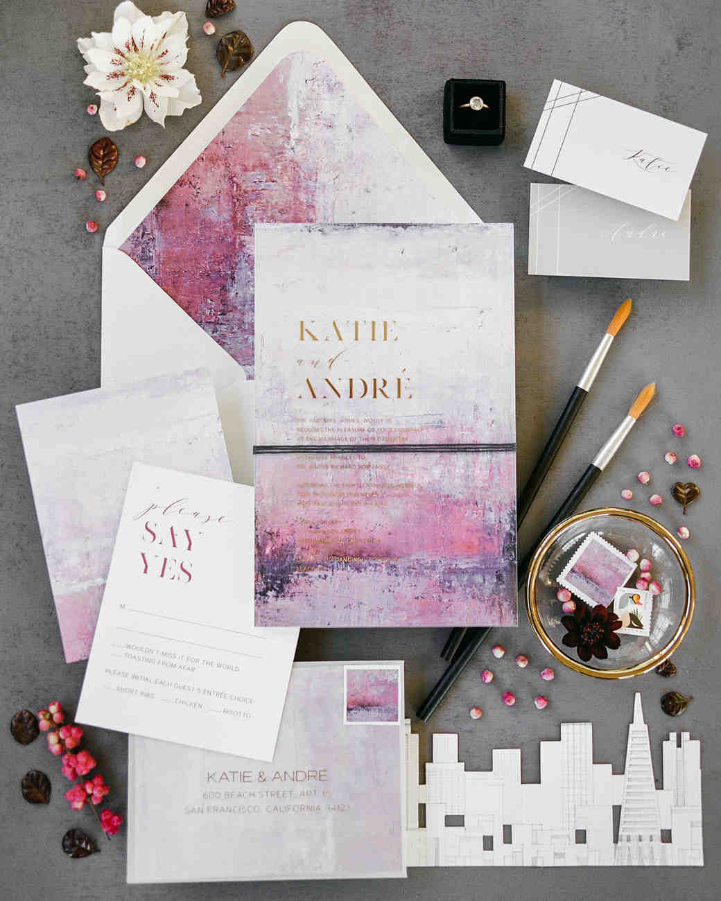 katie andre wedding invitation stationery suite