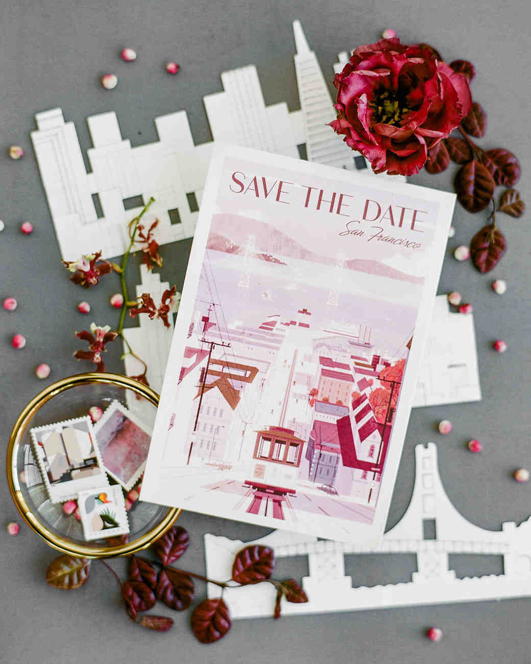 katie andre wedding save the date cards skyline paper cutouts