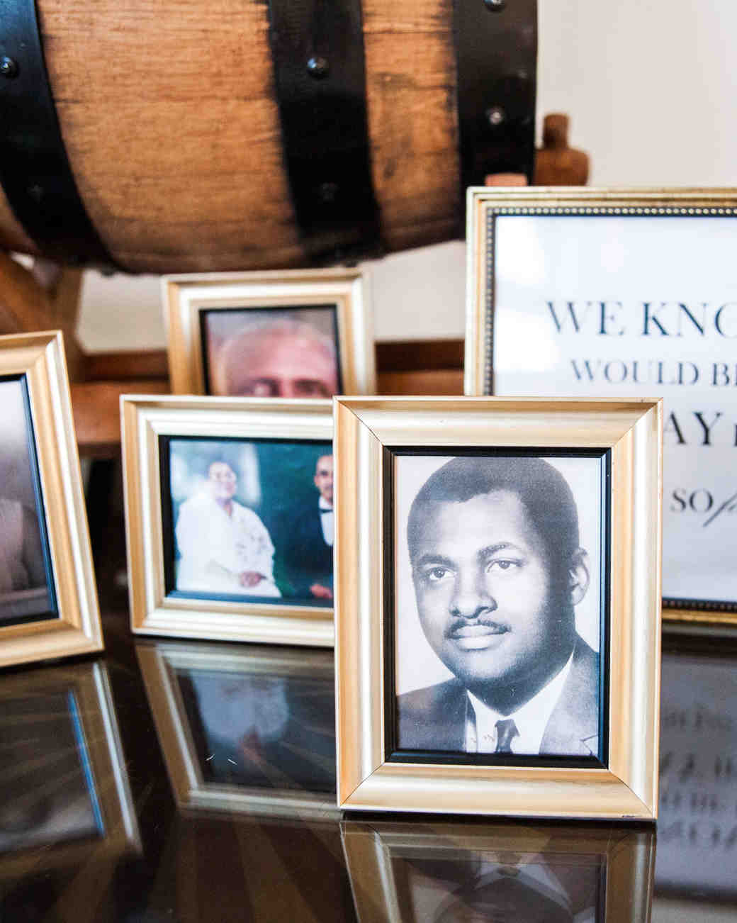 kenisha wendall wedding photo table frames black and white photography