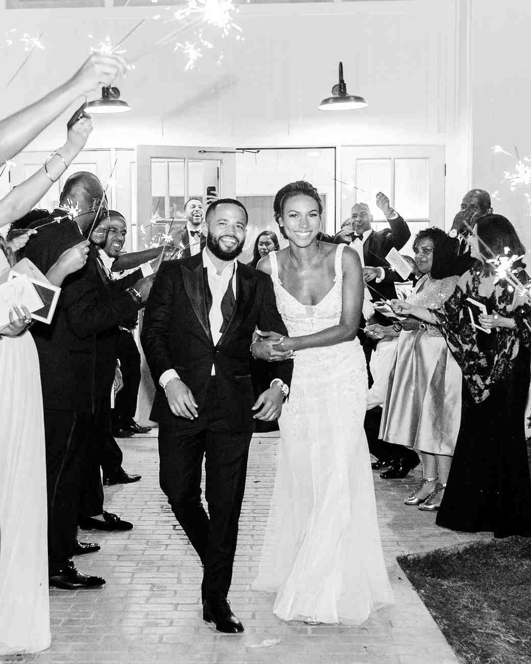 wedding black and white photo of couples send off