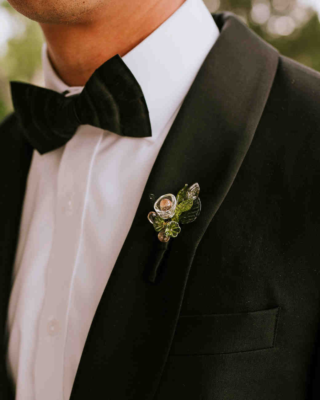 leah michael wedding glass boutonniere