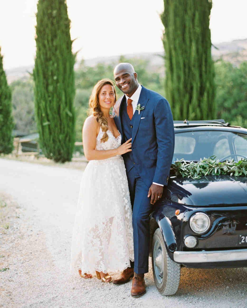 leila joel wedding couple next to car