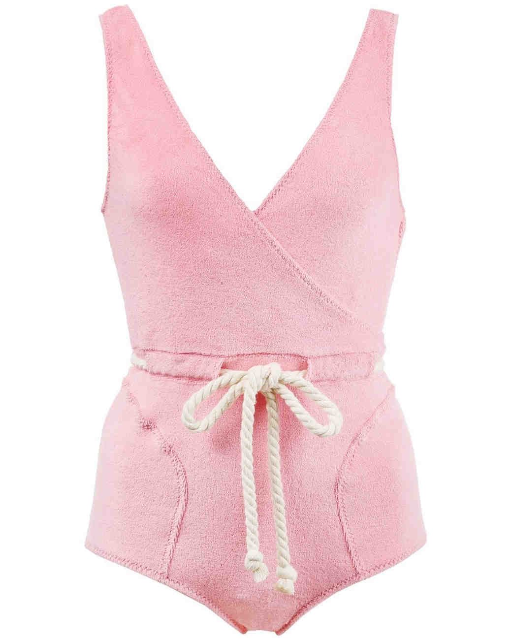 Pink Terry Drawstring Swimsuit