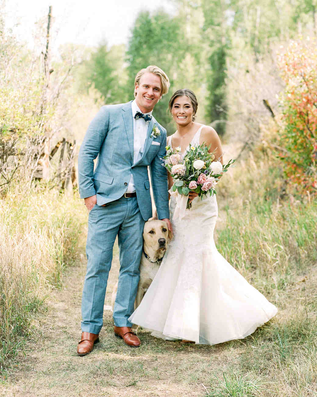 margaux patrick wedding couple with dog