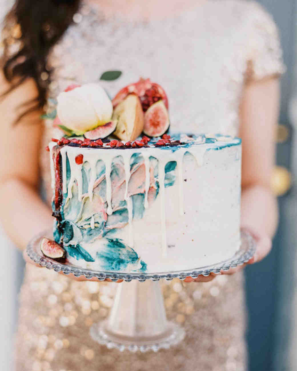 Painted Wedding Cake with Fruit