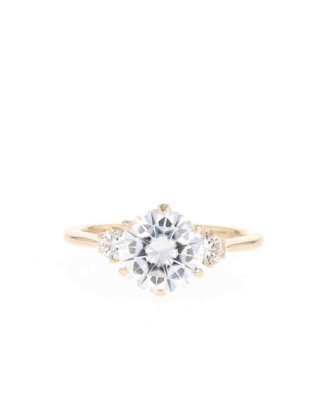 3268089f9 24 Moissanite Engagement Rings for the Eco-Friendly Couple | Martha Stewart  Weddings