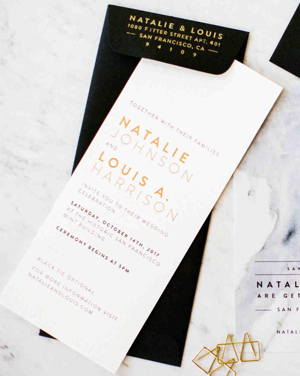 natalie louis wedding invitation