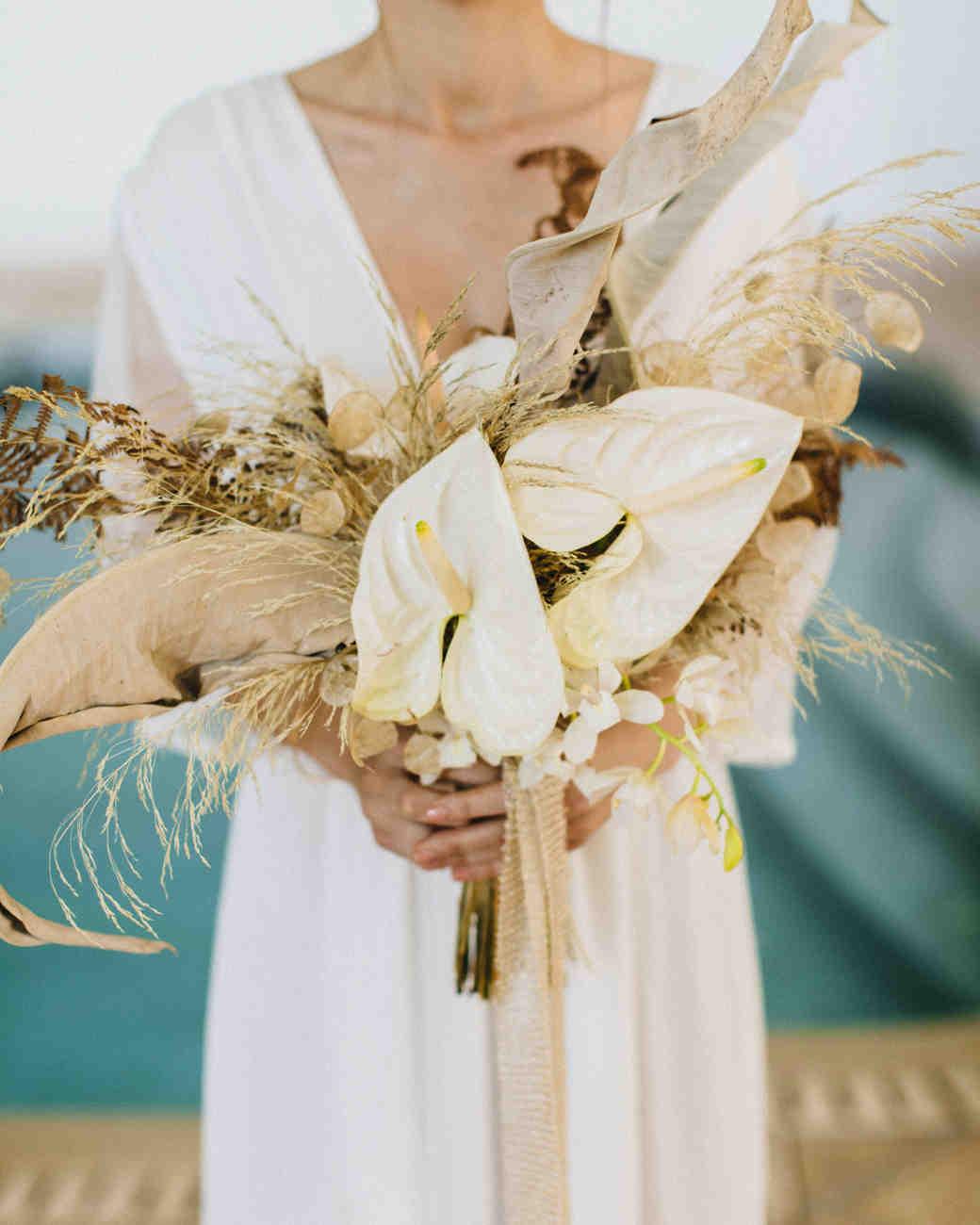 pampas grass ideas anthurium bouquet with pampas accents
