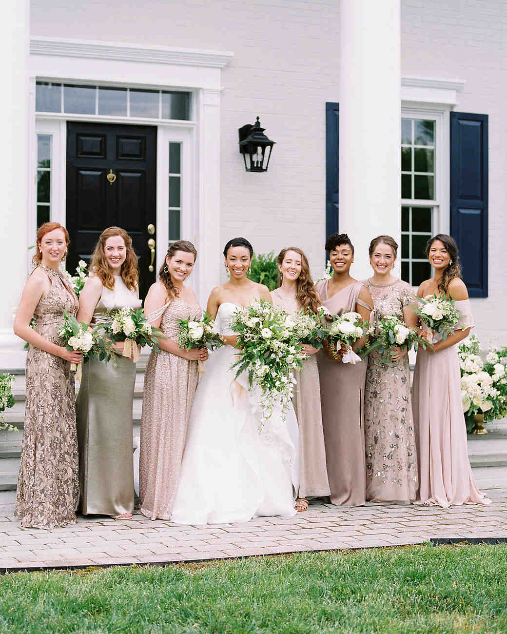 pillar paul wedding bridesmaids neutral dresses