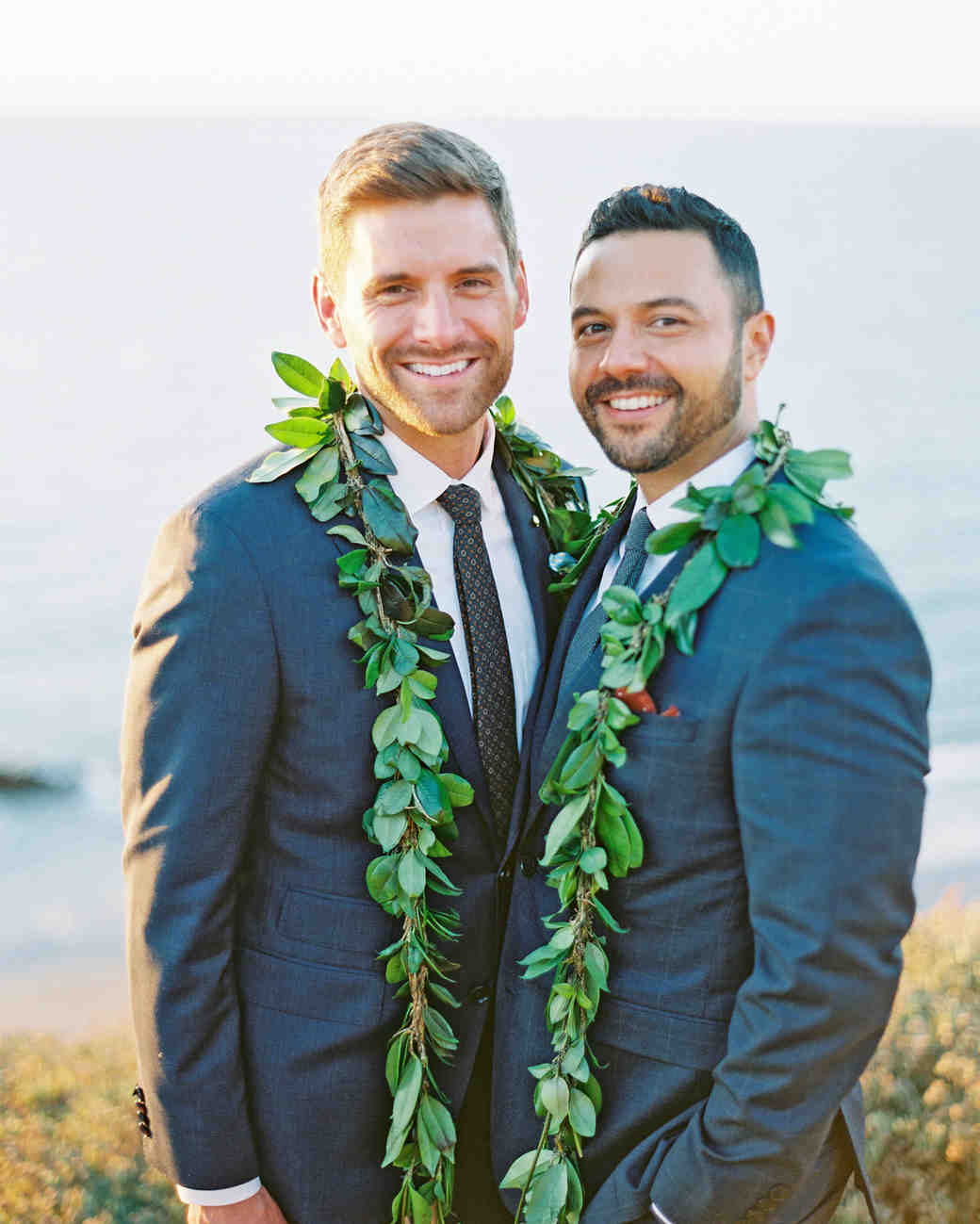 rob franco wedding grooms leis around necks