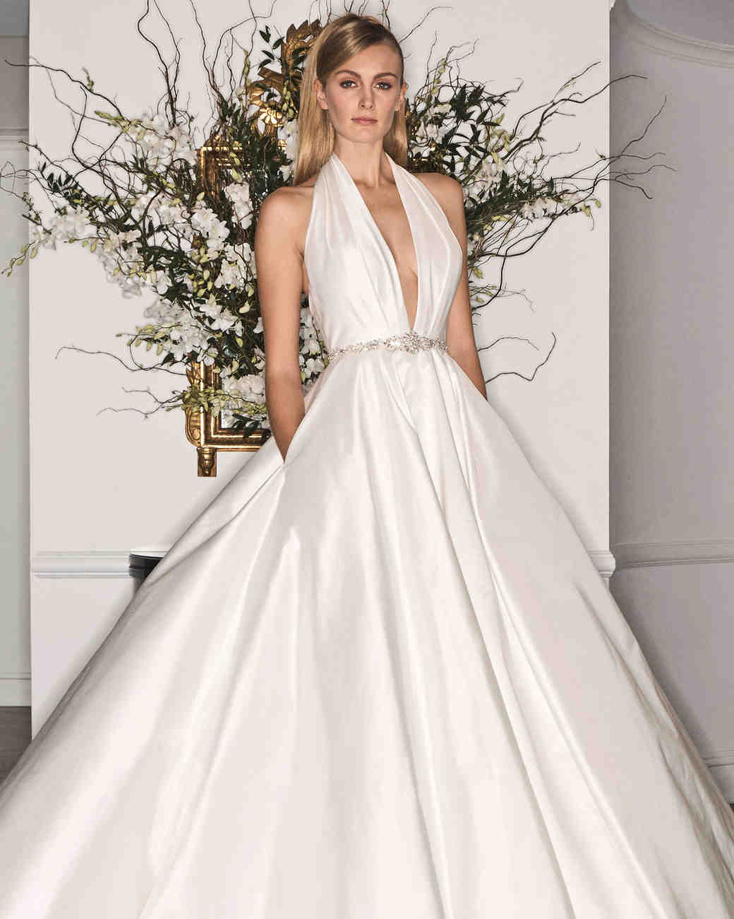 Glamorous Belted Wedding Gown with Pockets