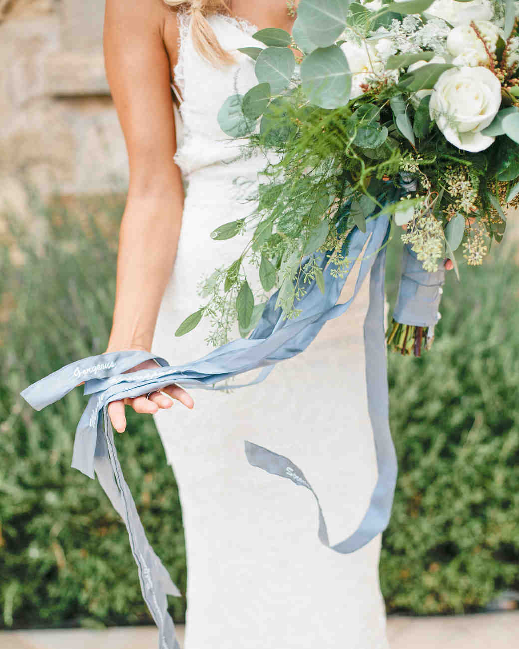 something blue embroidered silk ribbon bouquet