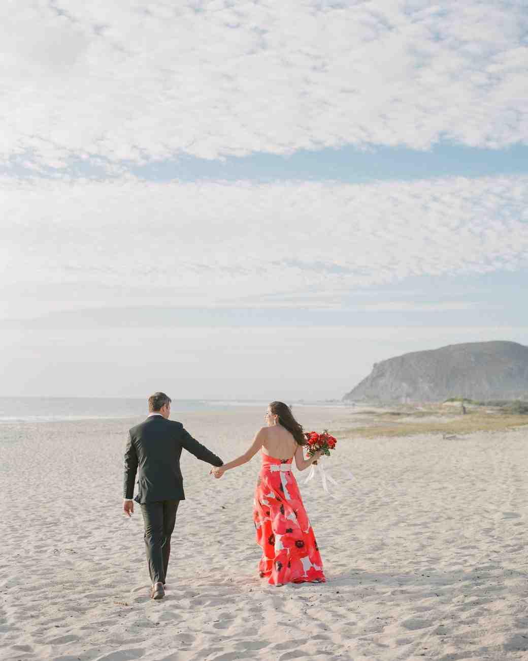 couple beach walking