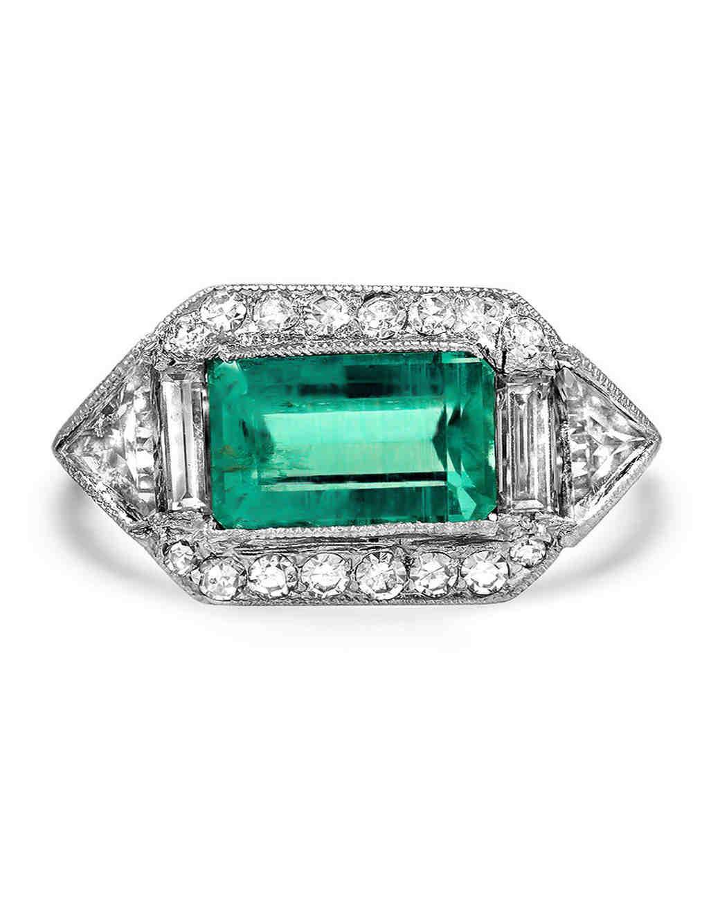 art deco emerald single cut diamonds ring