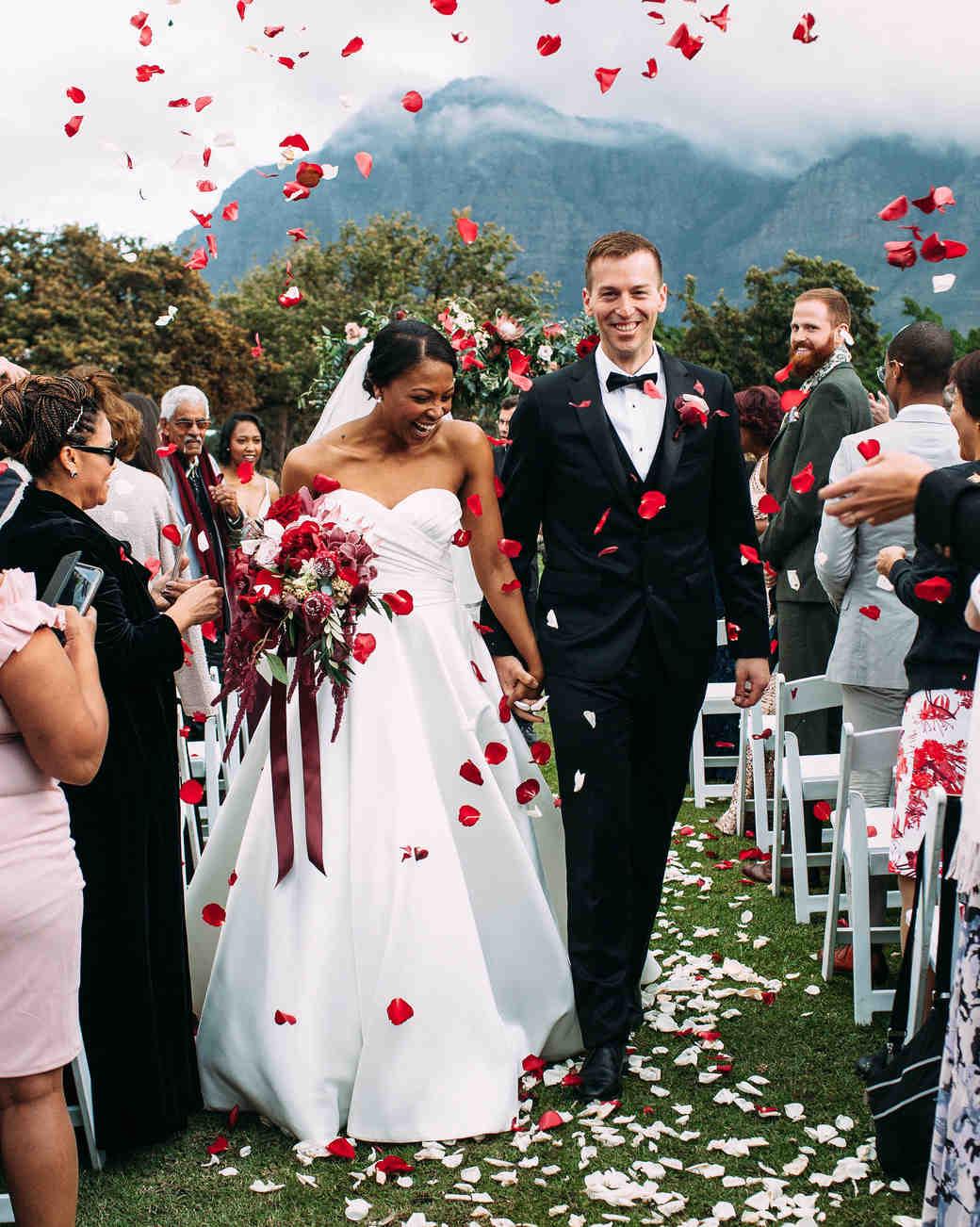 yolana douglas wedding ceremony couple recessional