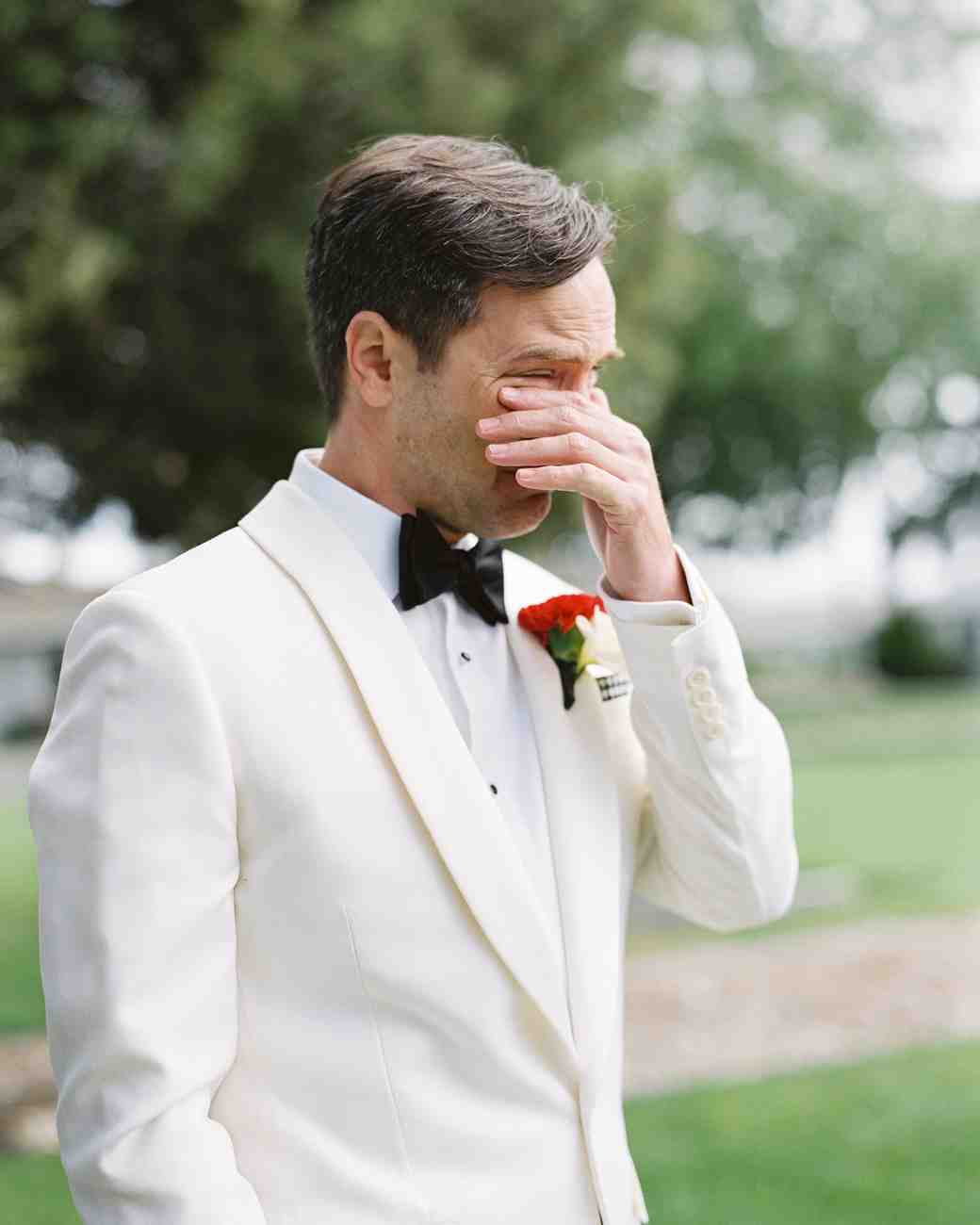 wedding groom crying