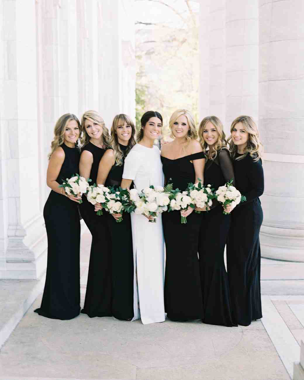 Sleek Mismatched Black Bridesmaid Dresses