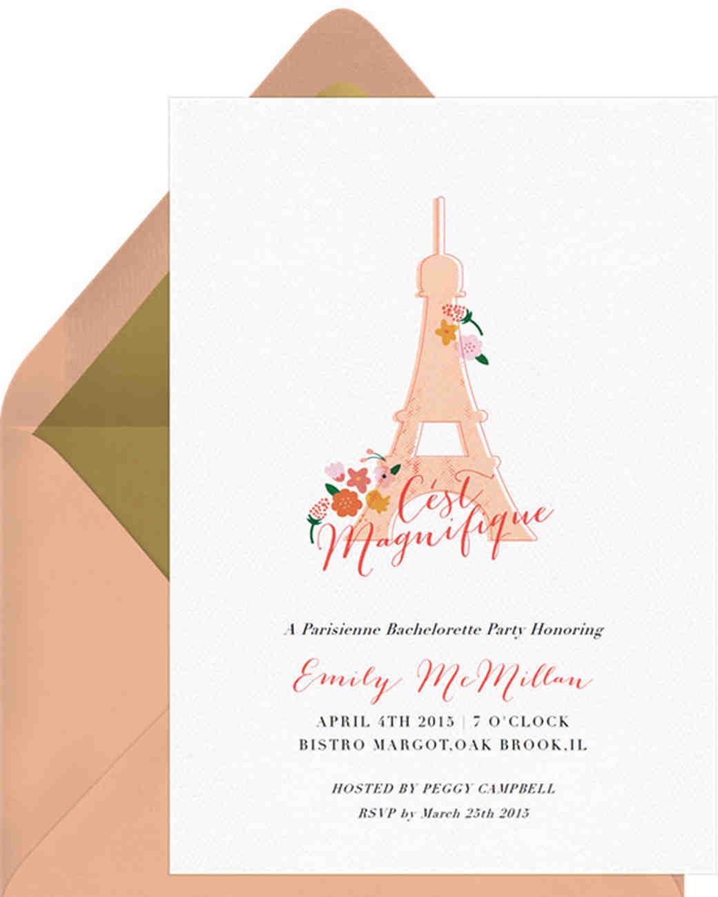 bachelorette party invites greenvelope paris