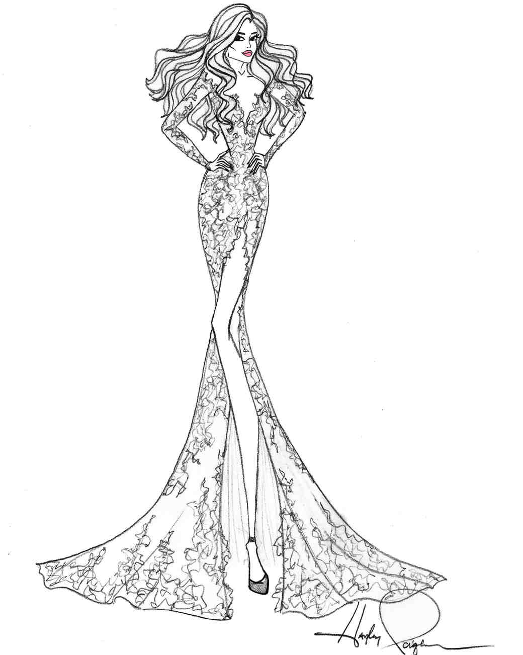 blush by hayley paige wedding dress sketch