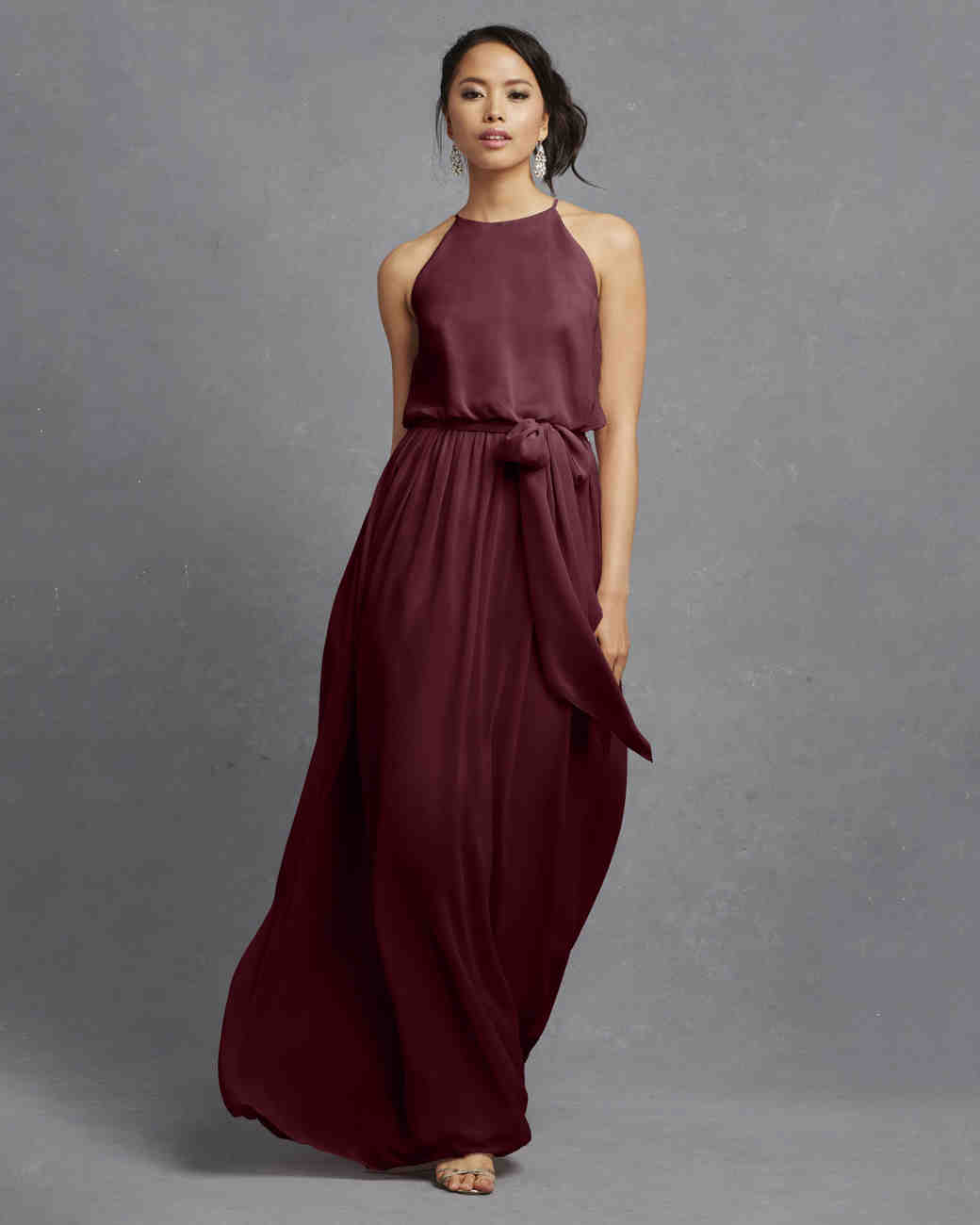 burgundy bridesmaid dress – Donna Morgan – Alana