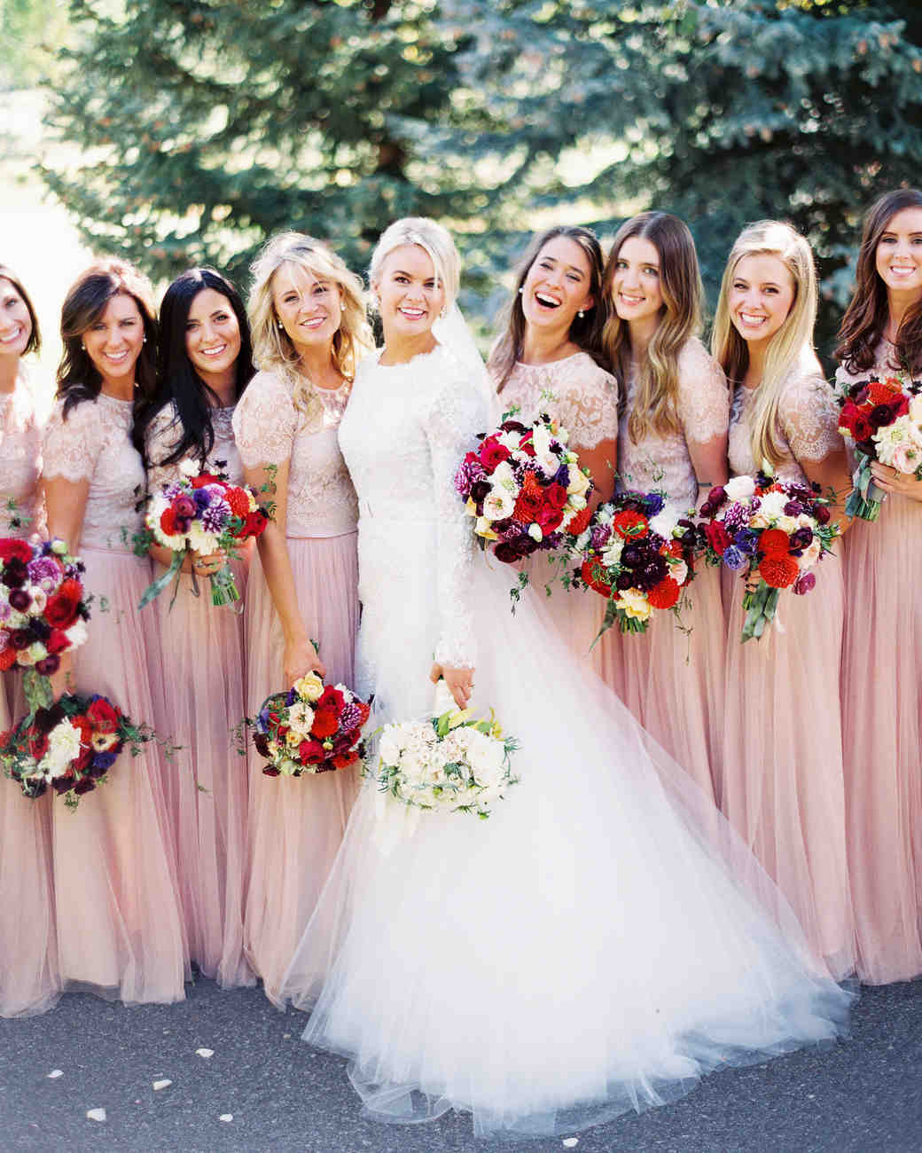 wedding bridesmaids pink dresses bride
