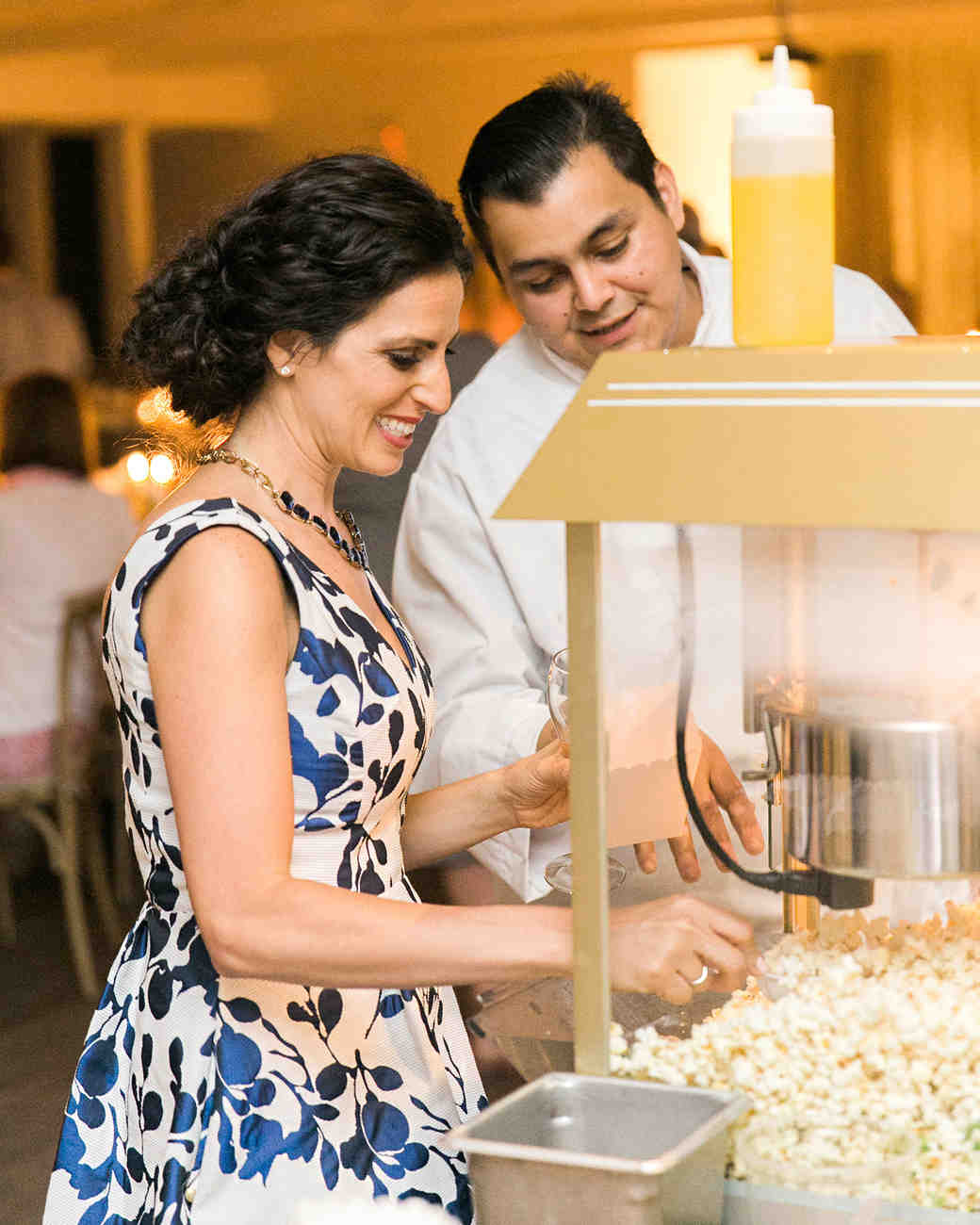 cassandra jason wedding guests with popcorn