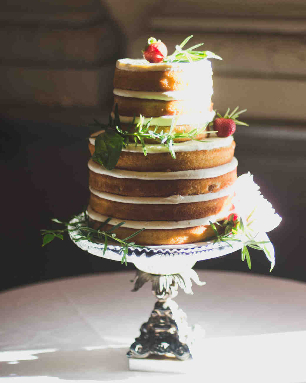 Lemon-Basil Wedding Cake with Strawberries