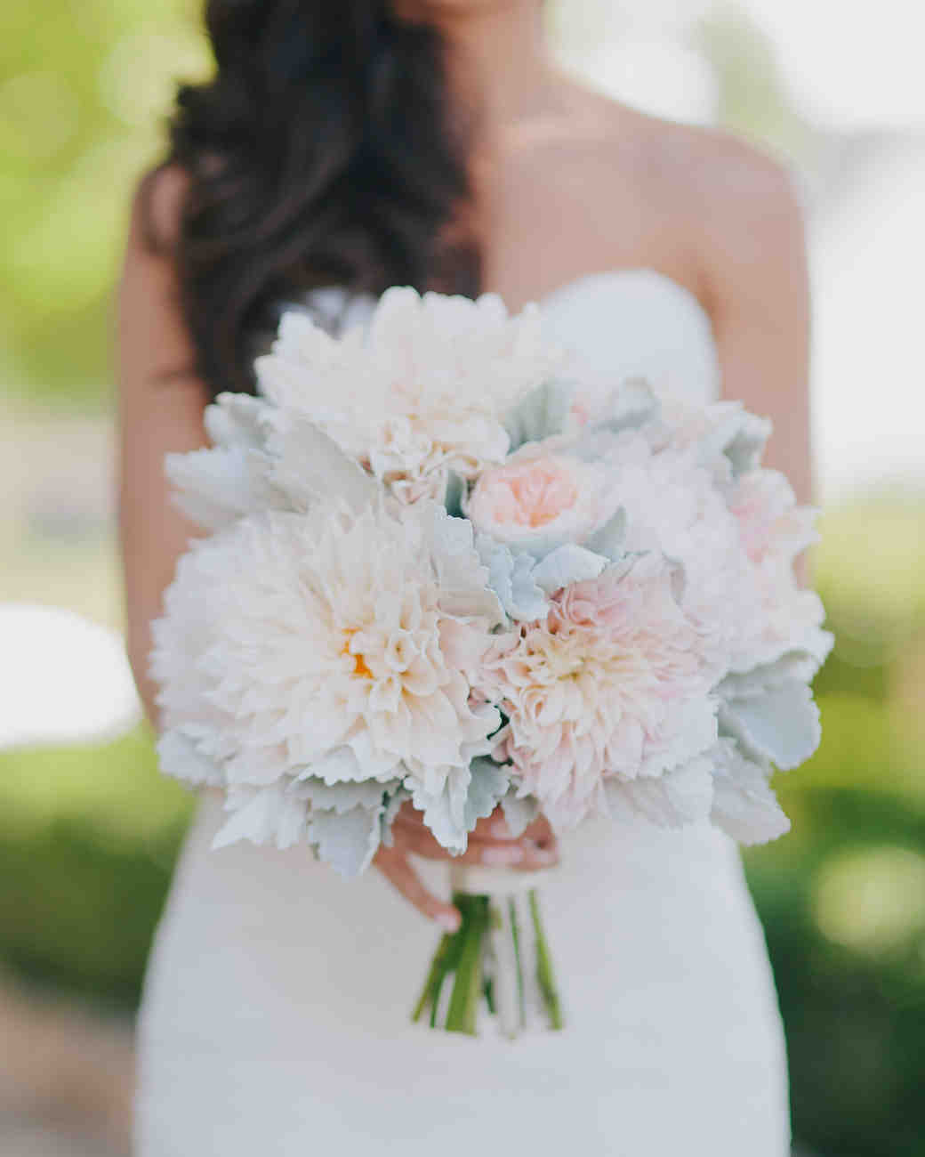 pale dahlia wedding bouquet