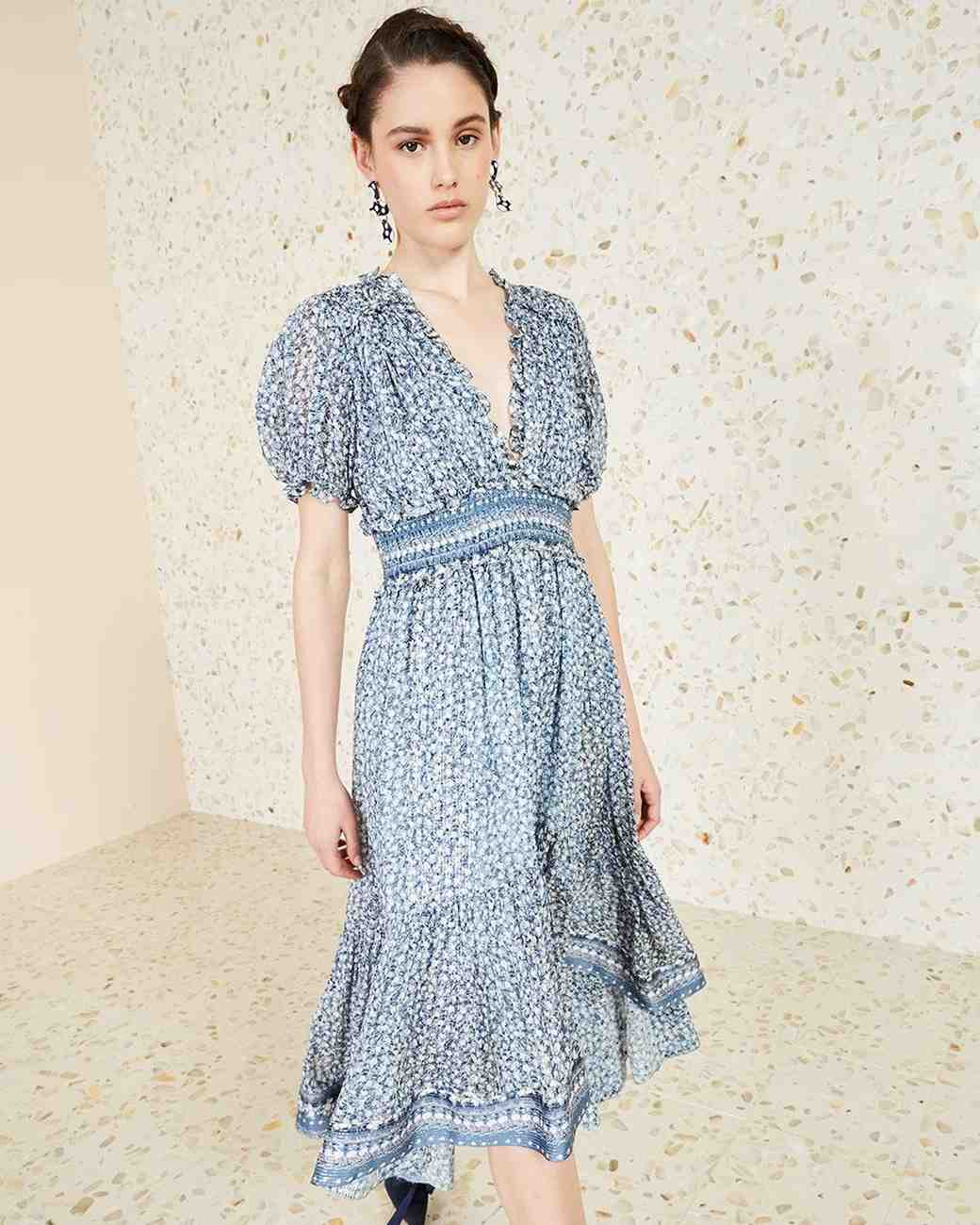 blue and white patterned engagement party dress