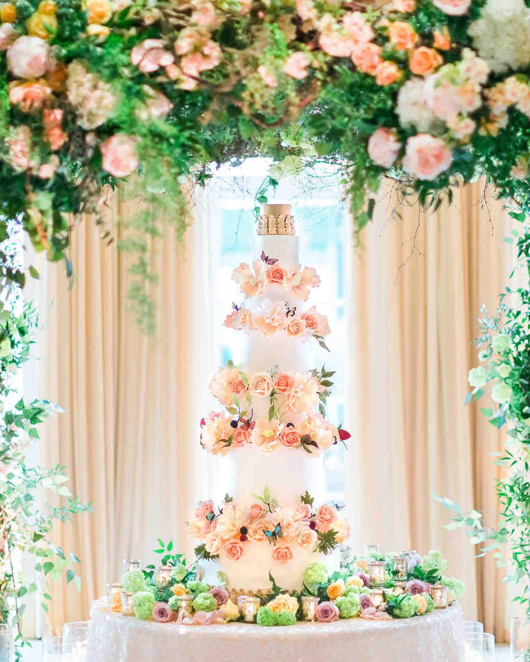 glamorous wedding ideas tall confection cake