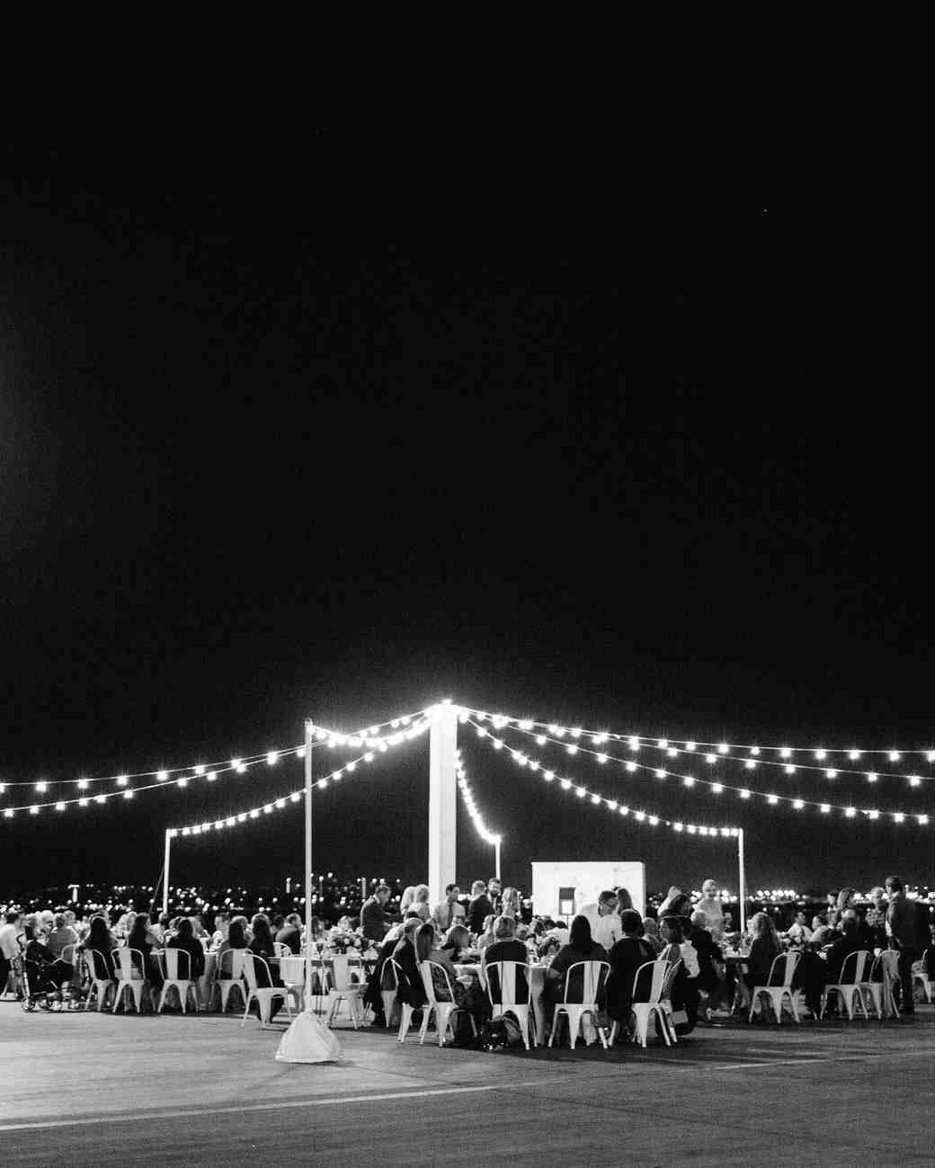julie anthony real wedding reception black white