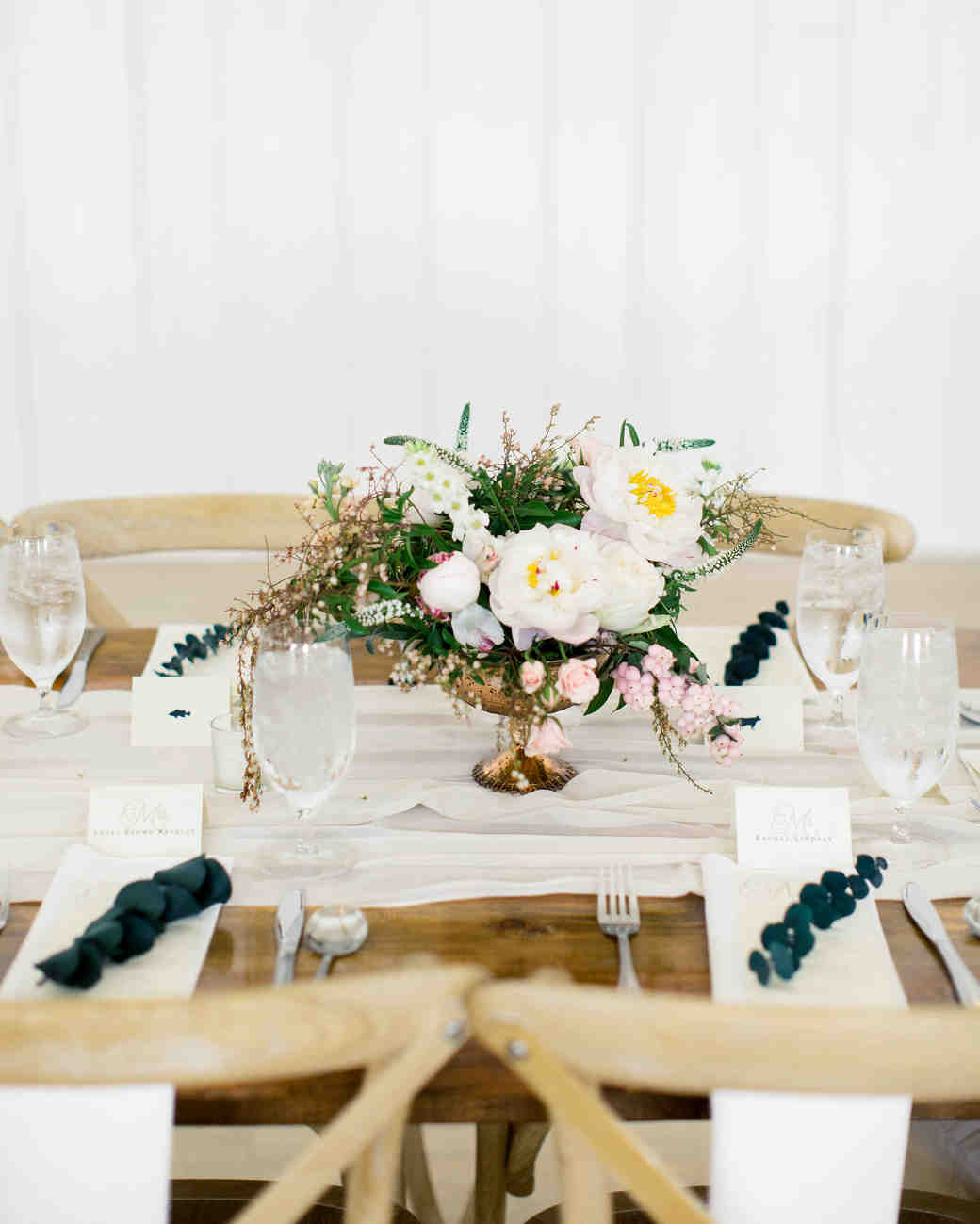 wedding reception table setting with floral centerpiece