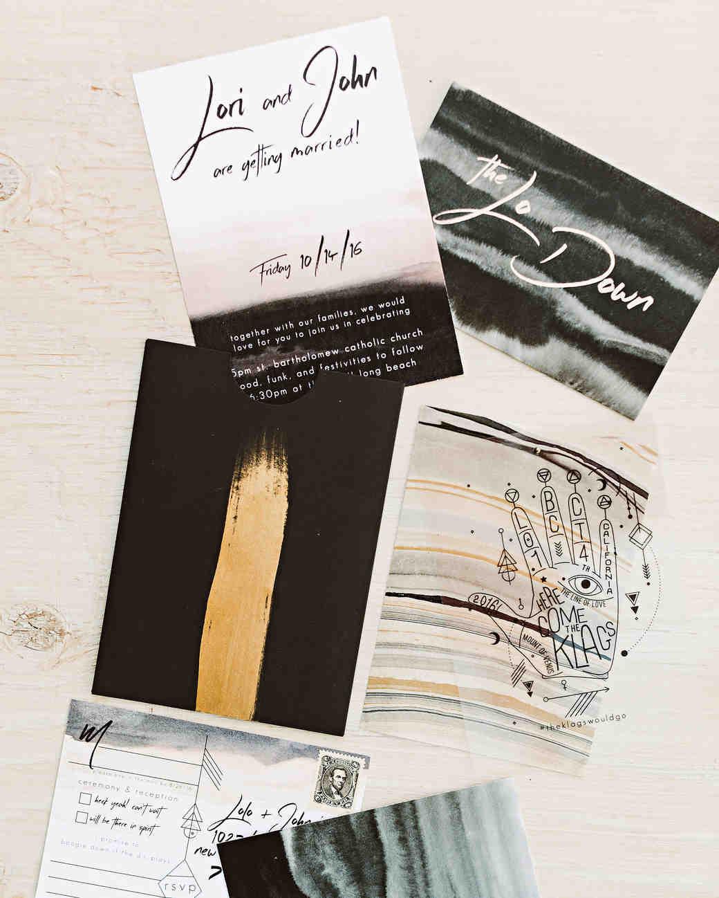 lori john wedding california stationery