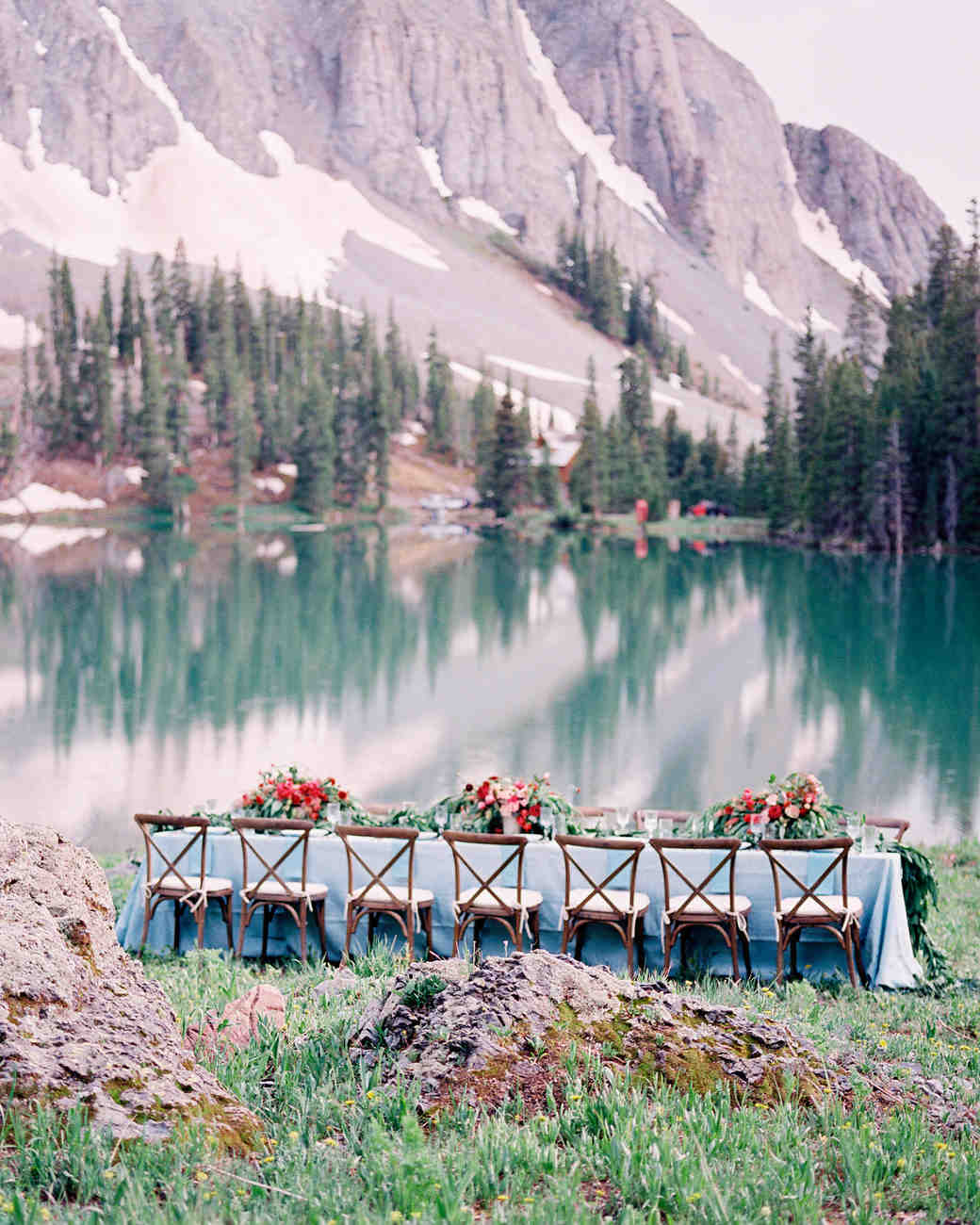 table by lake
