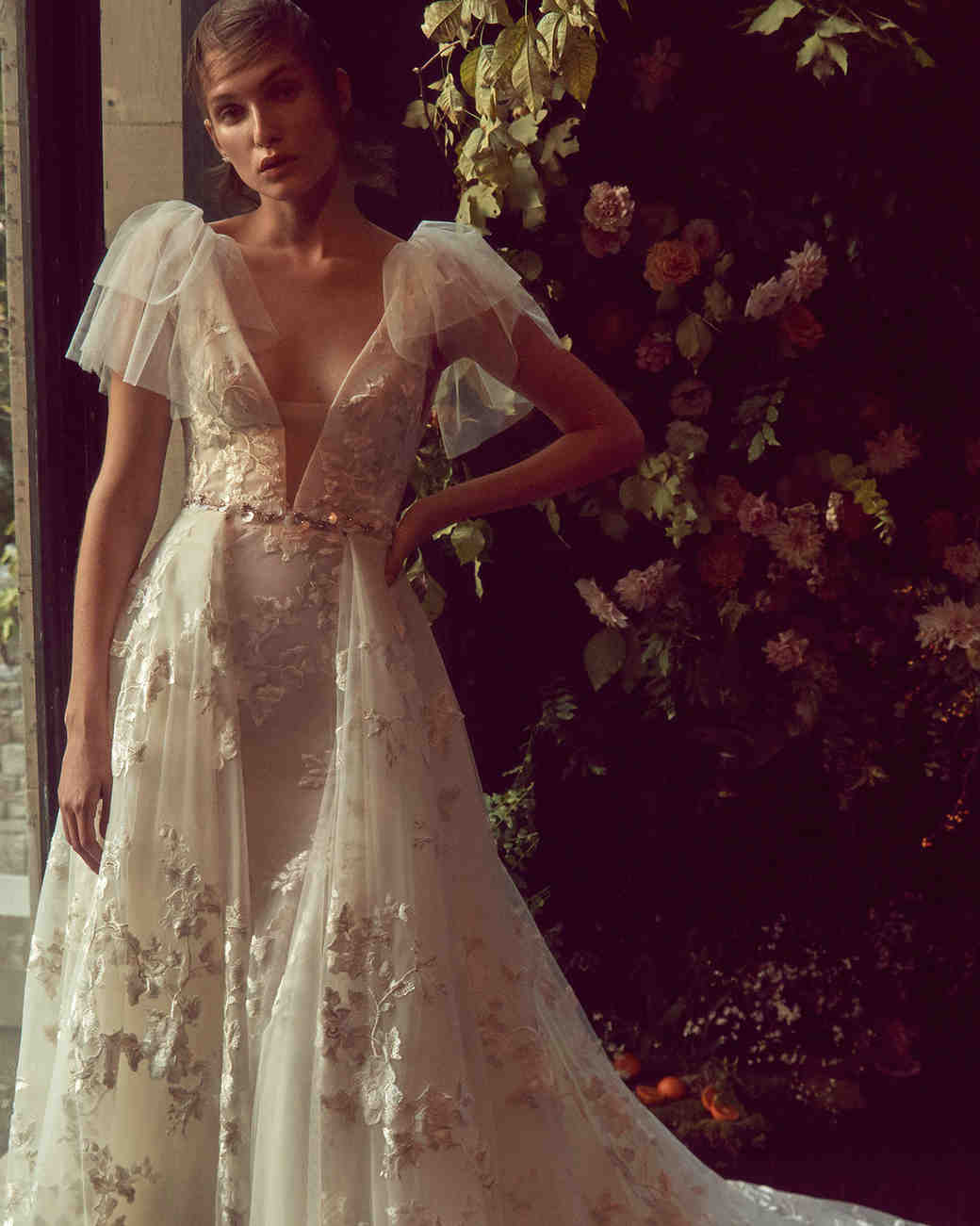 monique lhuillier bliss fall 2019 lace a-line gown with layered tulle sleeves and beaded belt