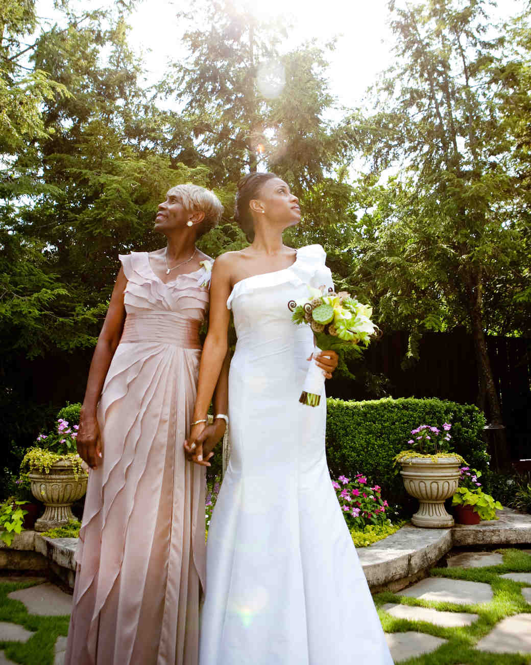 A Mother and Daughter Outside of the Wedding Venue