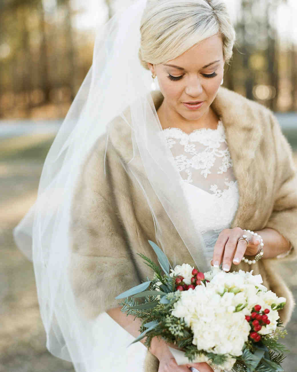 bride with coat