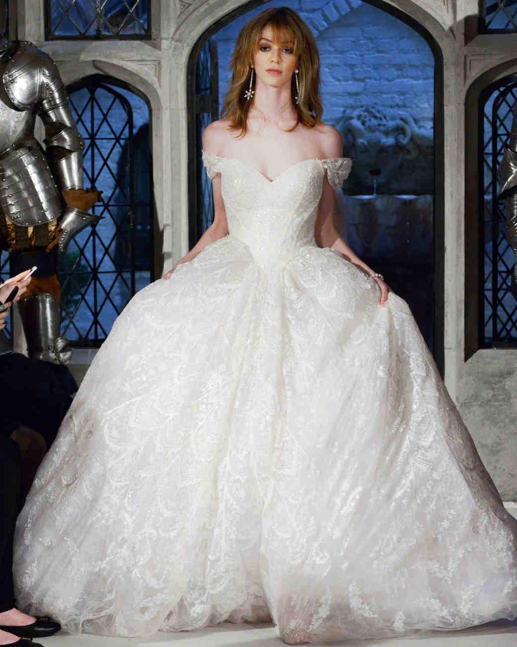 oleg cassini off-the-shoulder ball gown wedding dress spring 2018