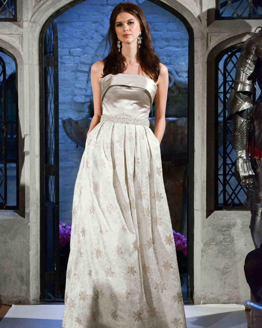 oleg cassini floral strapless wedding dress spring 2018