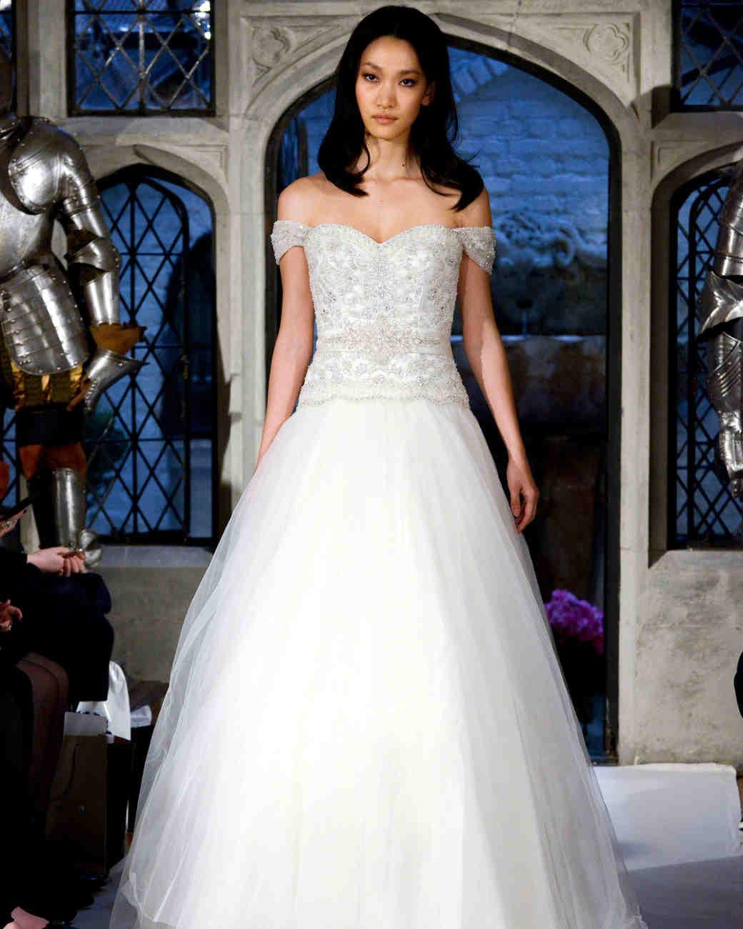 oleg cassini off-the-shoulder wedding dress spring 2018