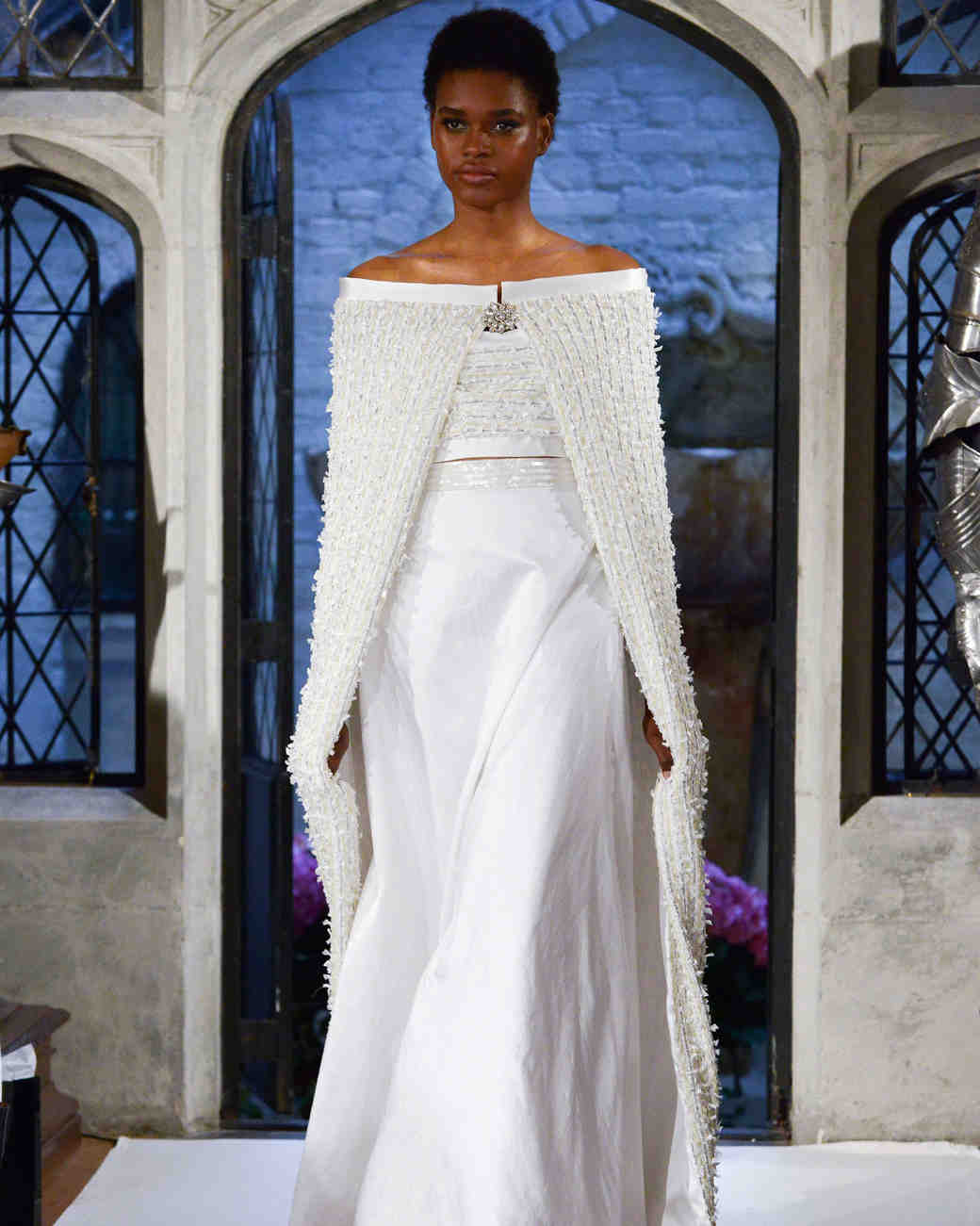 oleg cassini cape wedding dress spring 2018