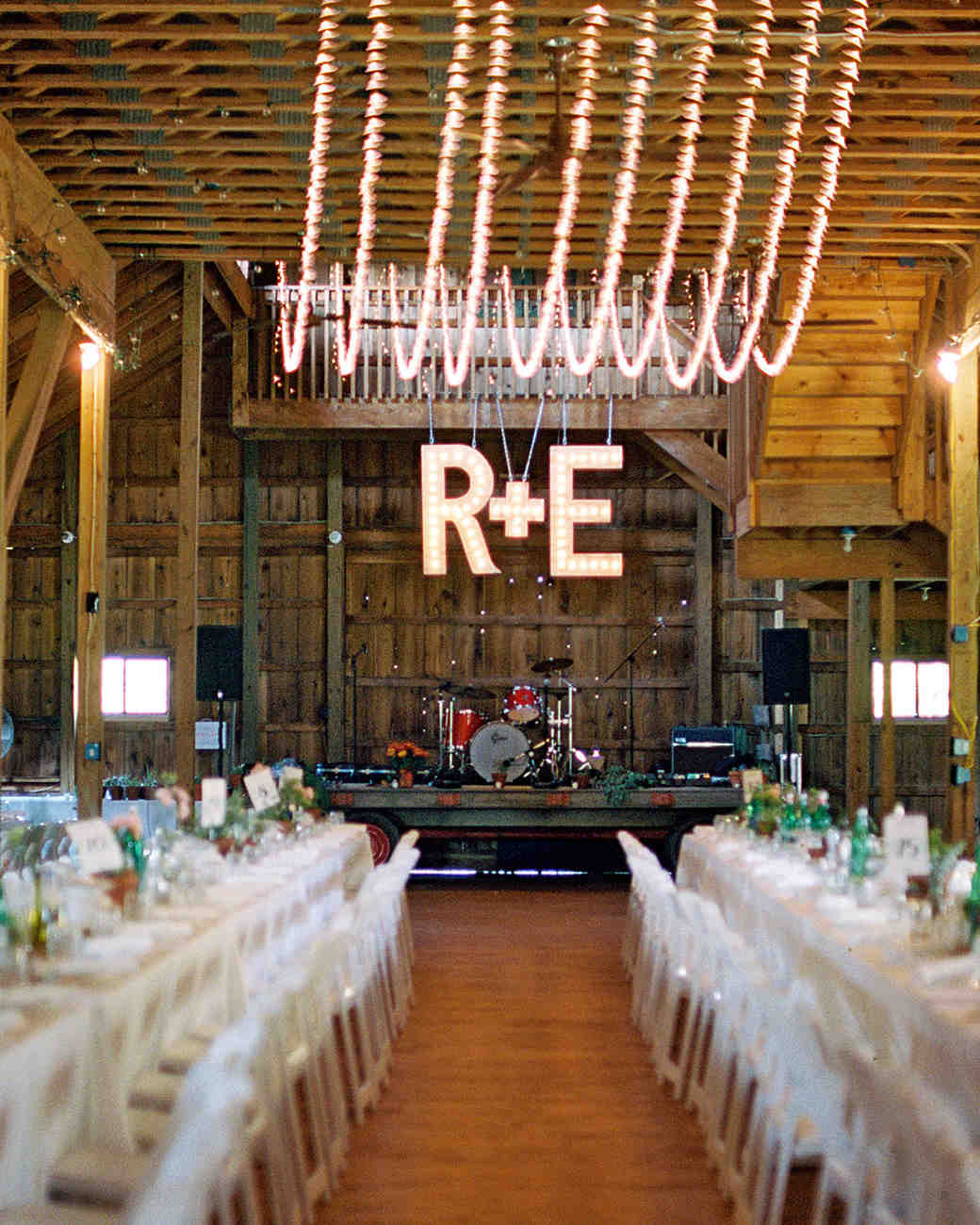 rachel elijah wedding barn bandstand and initials