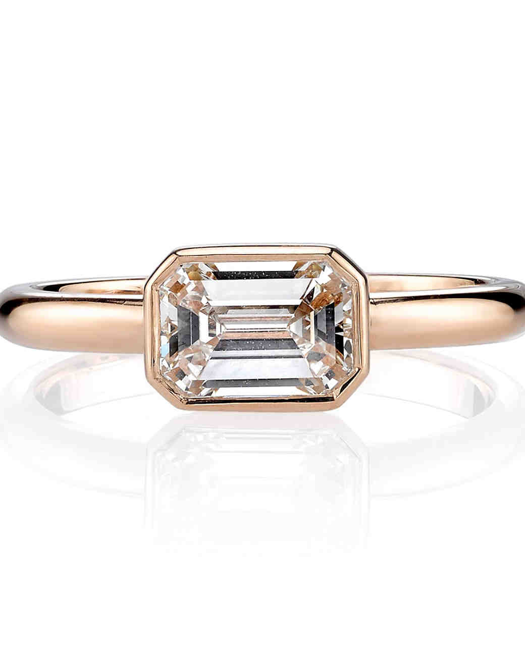 "Single Stone ""Leah"" Rose Gold Engagement Ring with Emerald-Cut Center Stone"